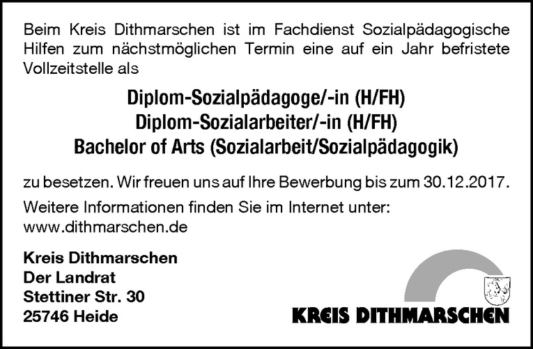 Diplom-Sozialpädagoge / Diplom-Sozialarbeiter / Bachelor of Arts (m/w)