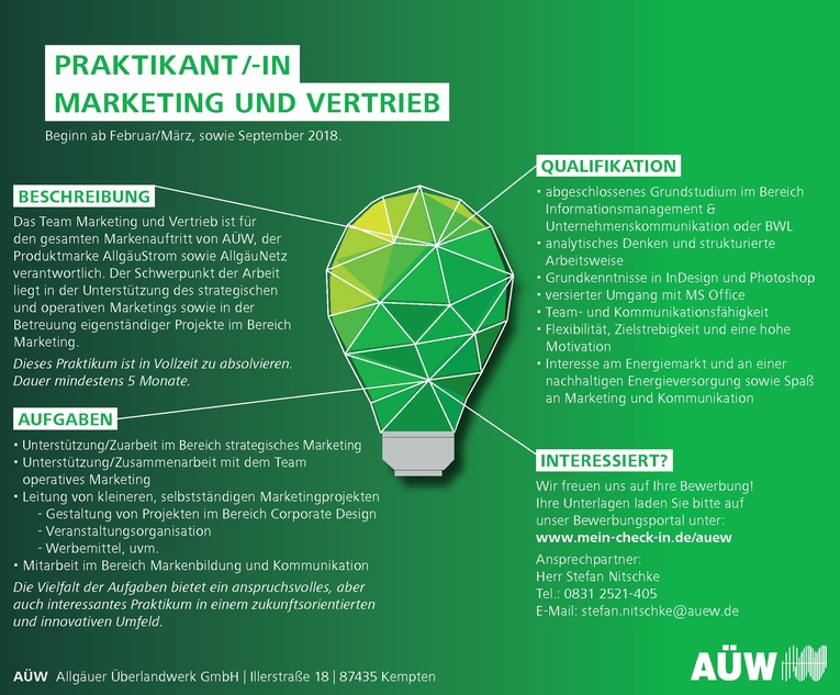 Praktikant/-in Marketing und Vertrieb