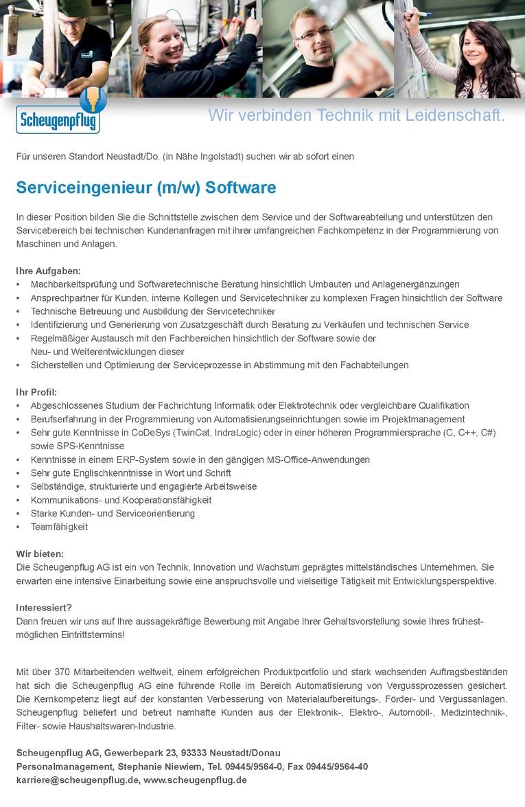 Serviceingenieur (m/w) Software