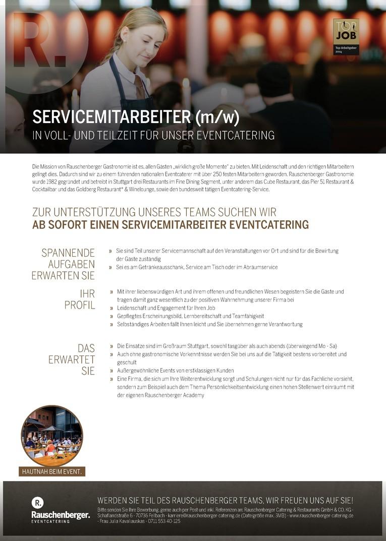 SERVICEMITARBEITER (M/W) IN TEILZEIT FÜR UNSER EVENTCATERING