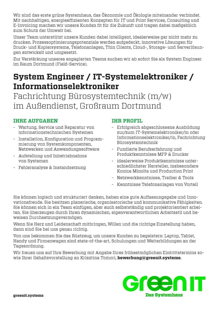 System Engineer / IT-Systemelektroniker/in / Informationselektroniker/in Bürosystemtechnik