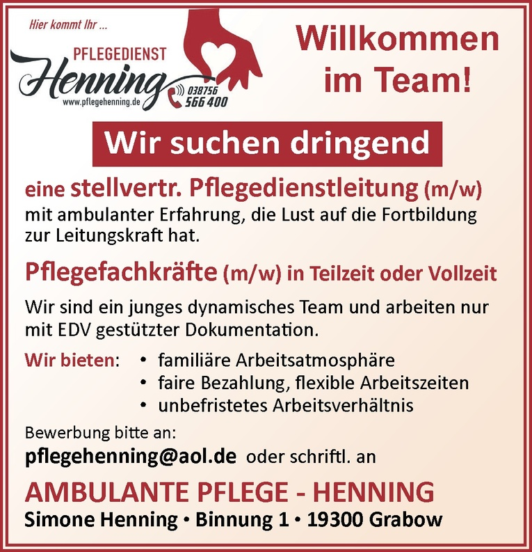 Pflegefachkräfte (m/w)
