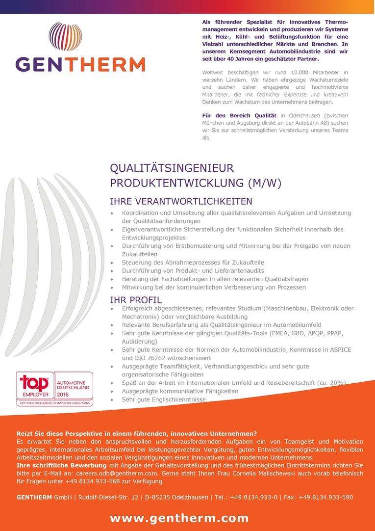 Qualitätsingenieur Produktentwicklung (m/w)