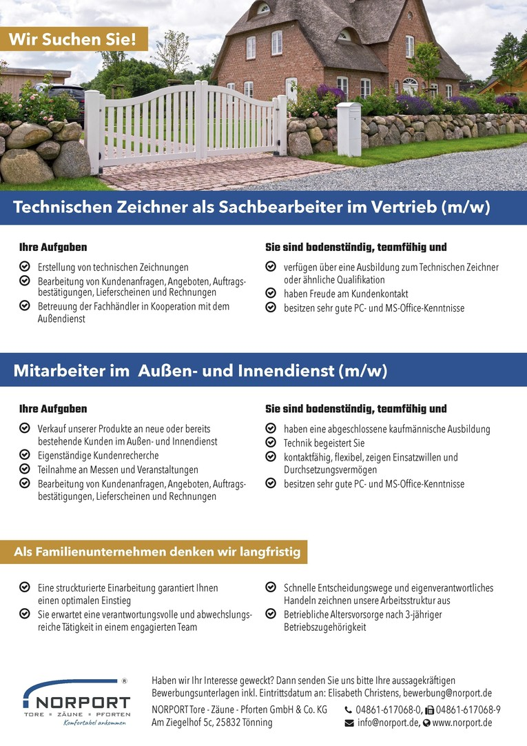 Technischen Zeichner als Sachbearbeiter im Vertrieb (m/w), Mitarbeiter im Außen- und Innendienst (m/w)