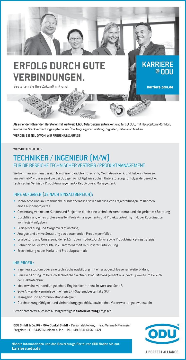 Techniker / Ingenieur (m/w) für die Bereiche Technischer Vertrieb / Produktmanagement