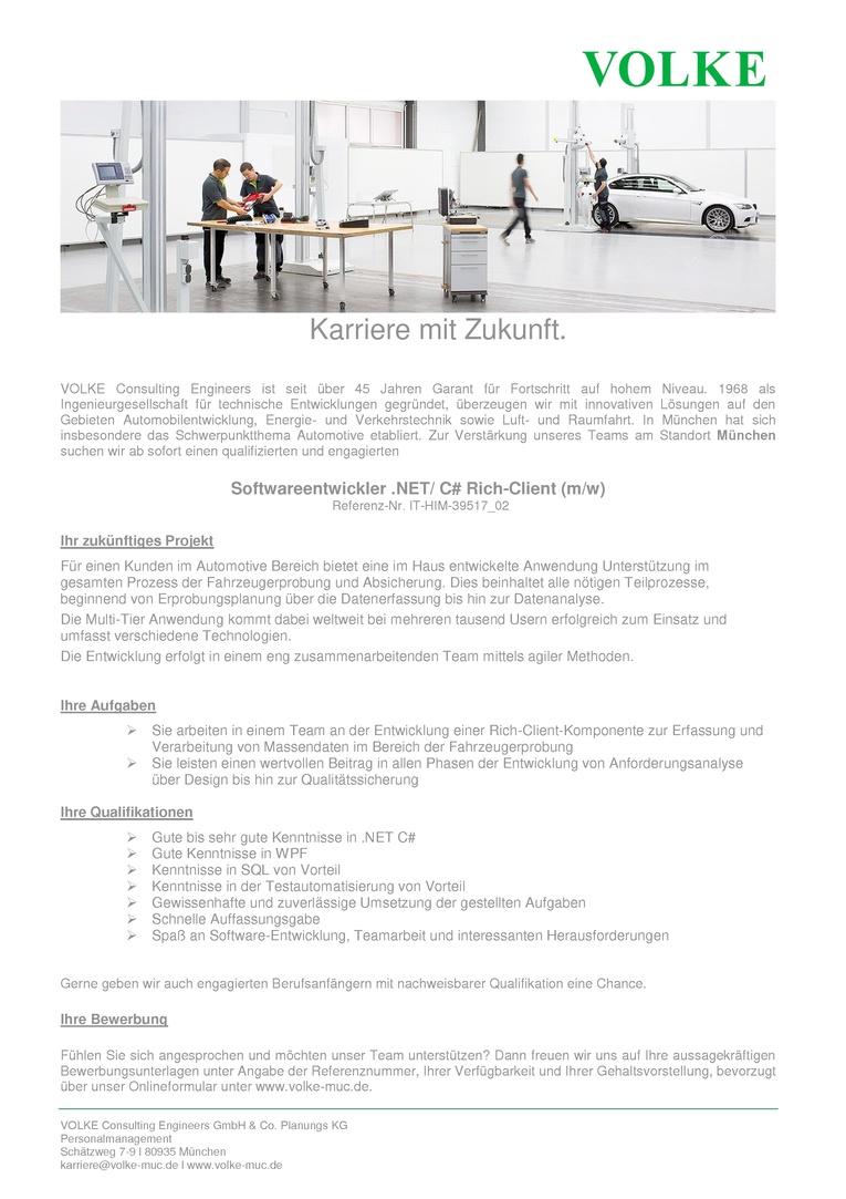 Softwareentwickler .NET / C# Rich-Client (m/w)