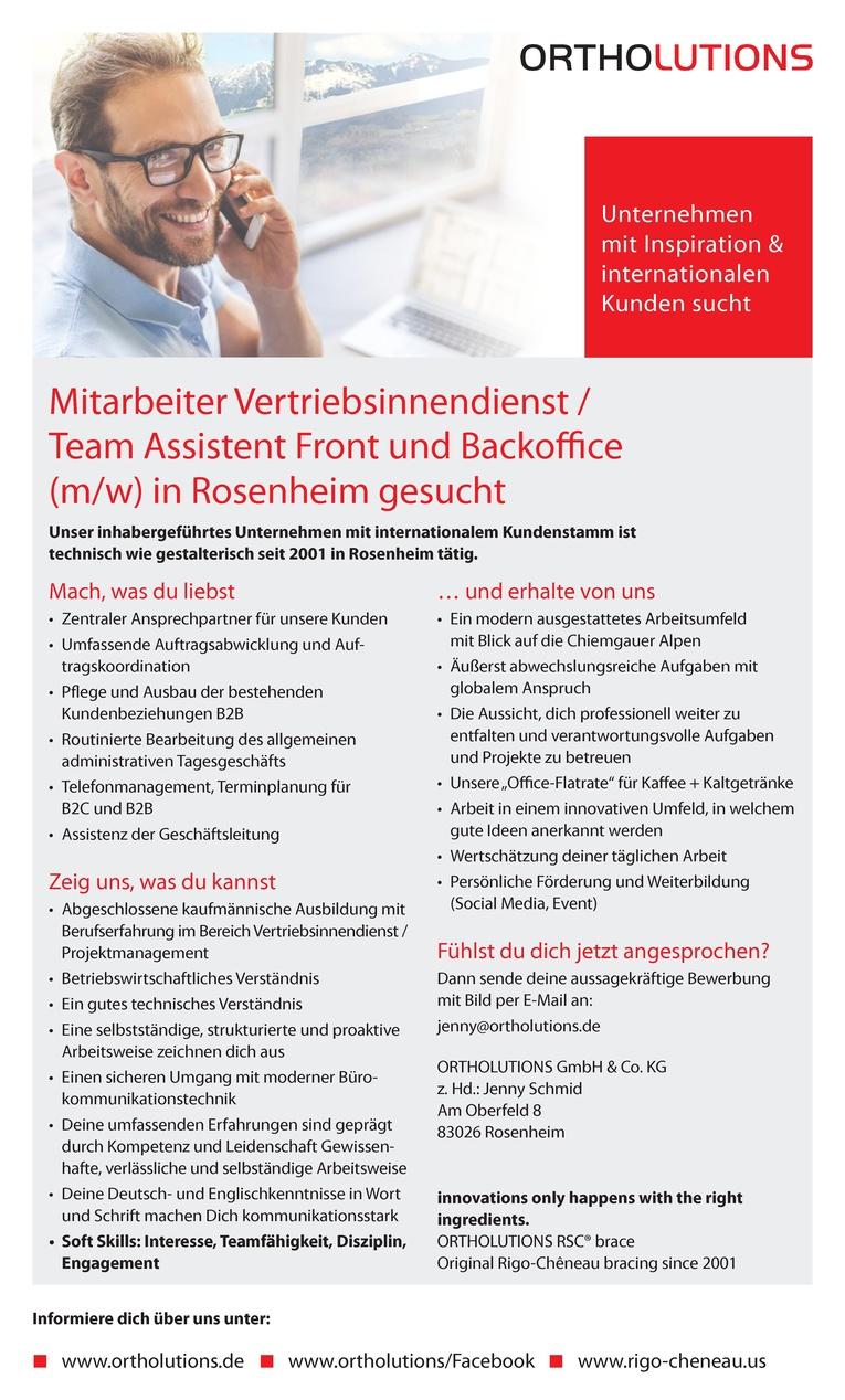 Mitarbeiter Vertriebsinnendienst / Team Assistent Front und Backoffice (m/w)