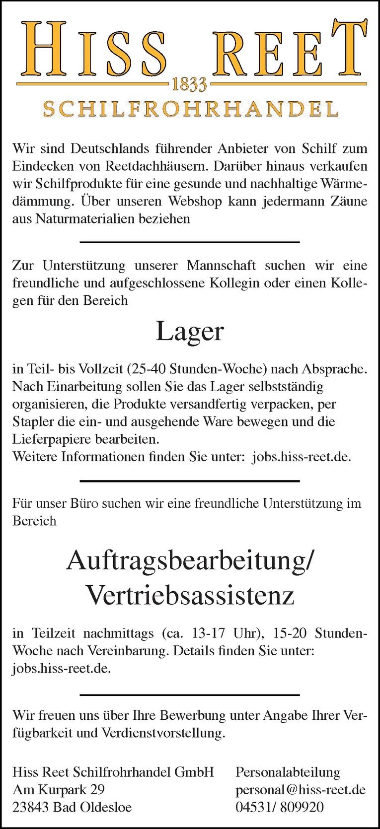 Mitarbeiter Auftragsbearbeitung/Vertriebsassistenz (m/w)