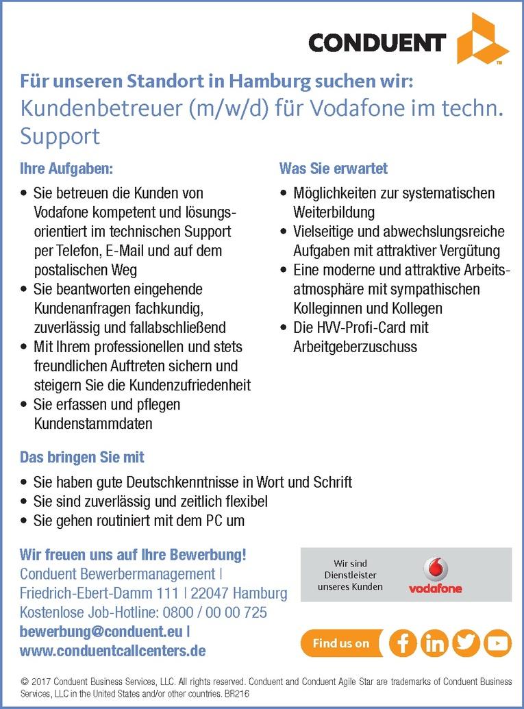 kundenbetreuer mwd fr vodafone im techn support - Vodafone Bewerbung