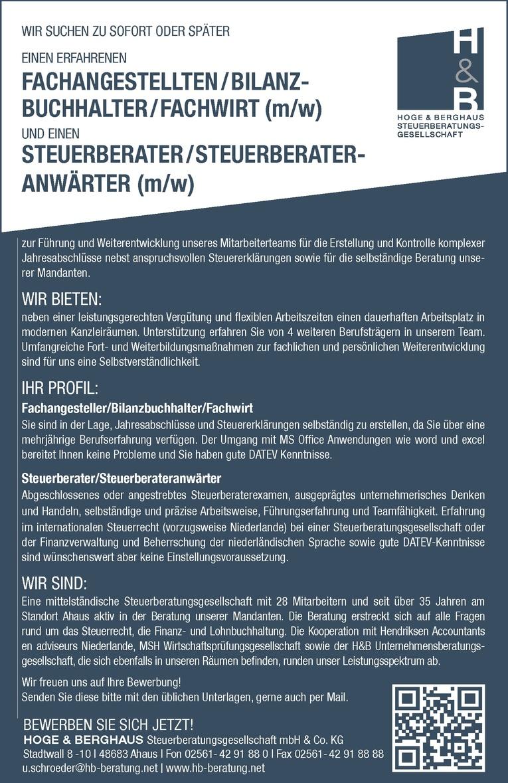 Steuerberater/Steuerberateranwärter (m/w)