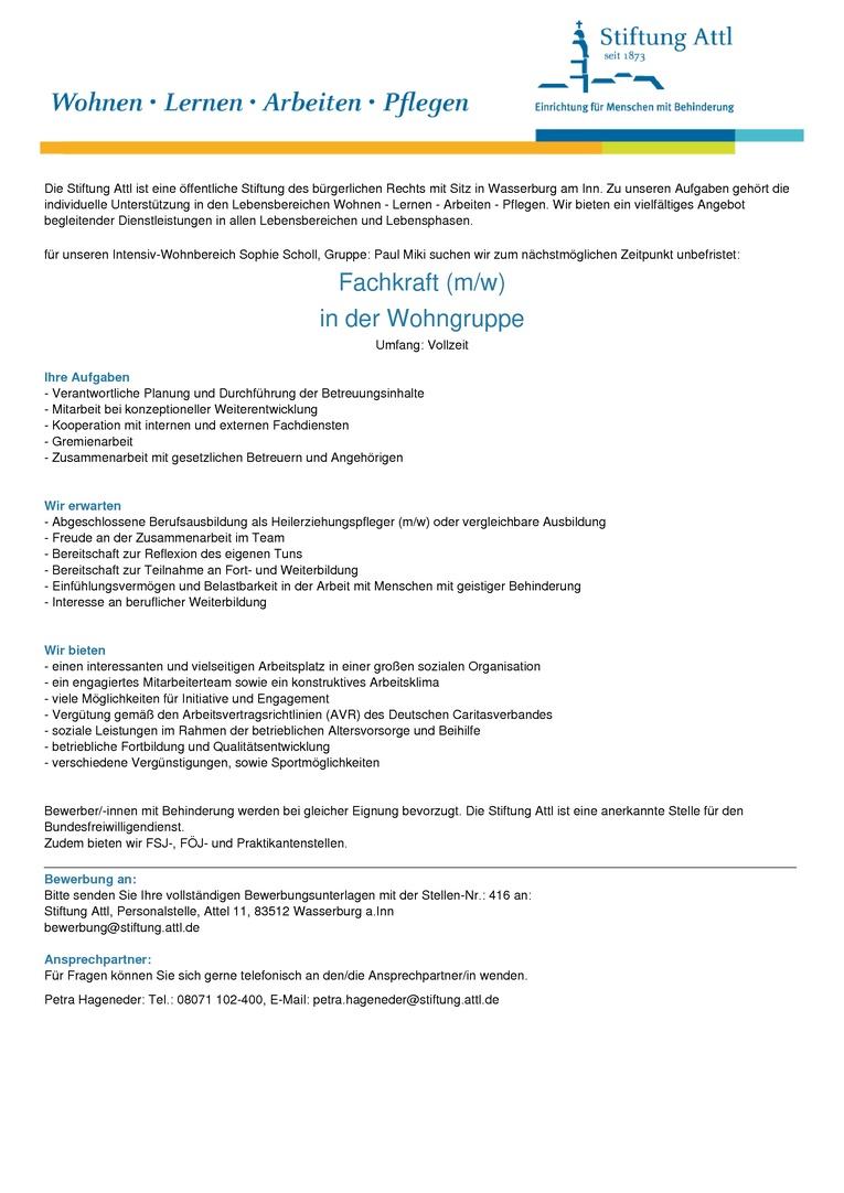 Fachkraft für unseren Intensiv-Wohnbereich (m/w) in Vollzeit, unbefristet  - Stellen-Nr. 416