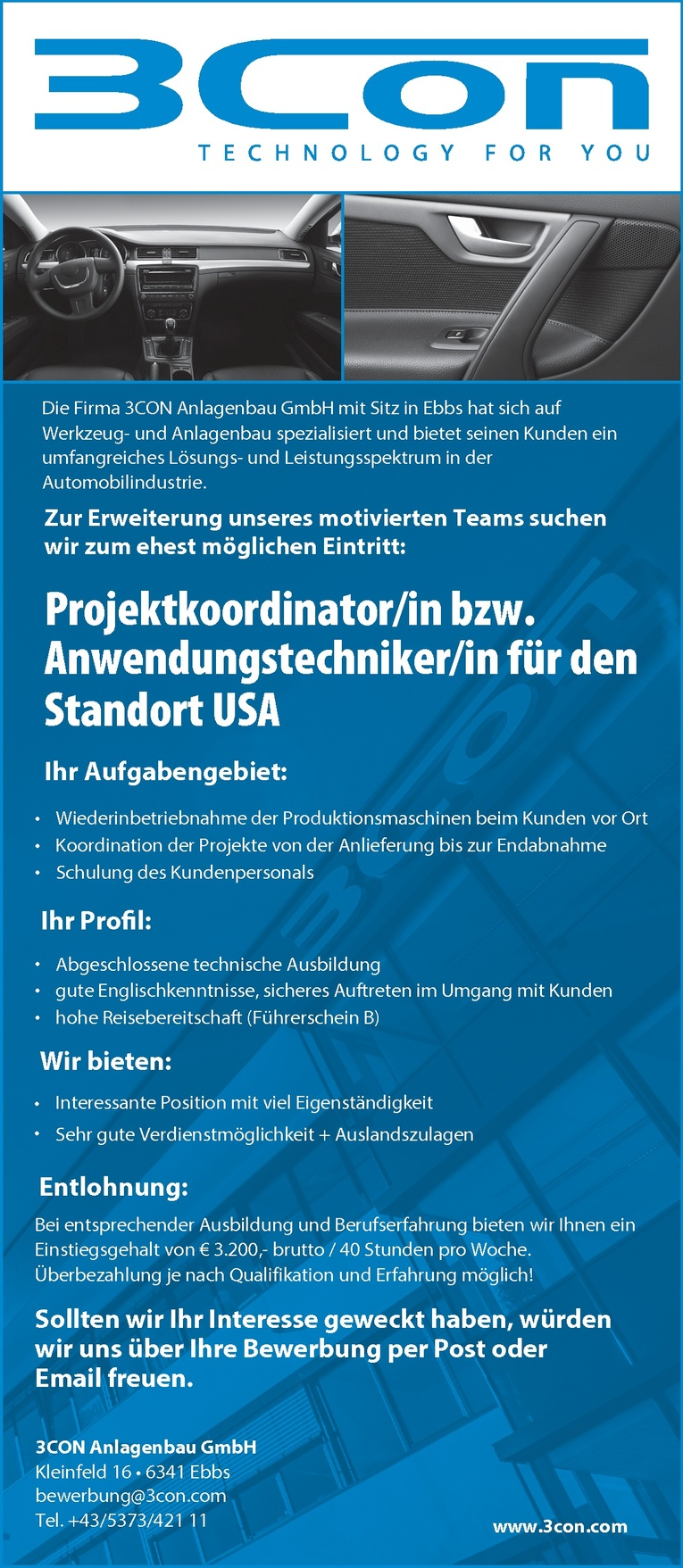 Projektkoordinator/in bzw. Anwendungstechniker/in für den Standort USA