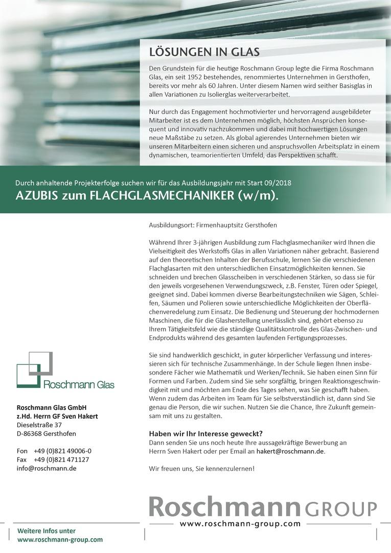 AZUBIS zum FLACHGLASMECHANIKER (w/m)