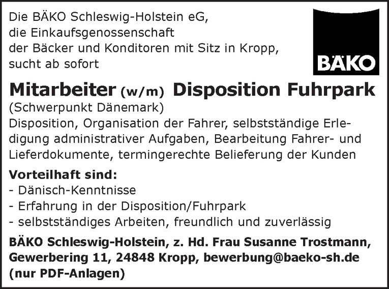 Mitarbeiter (w/m) Disposition Fuhrpark