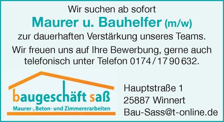 Maurer u. Bauhelfer (m/w)