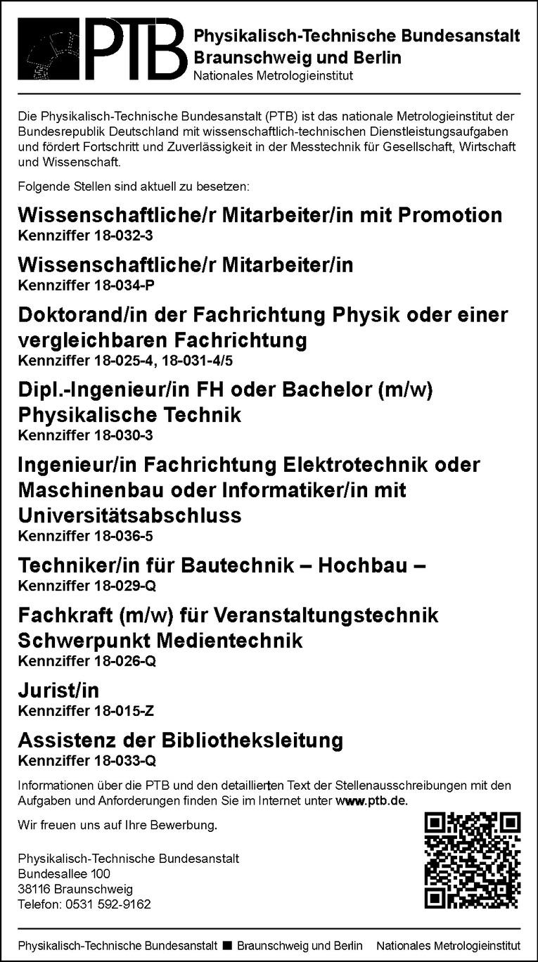 Doktorand/in der Fachrichtung Physik