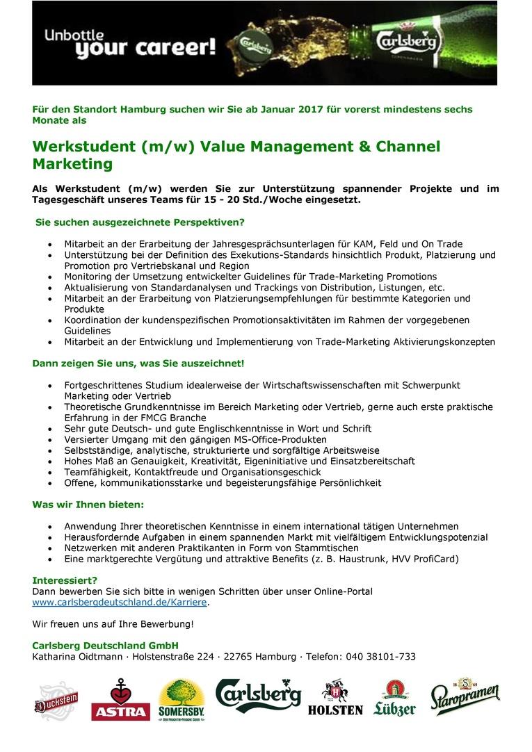 Werkstudent (m/w) Value Management & Channel Marketing