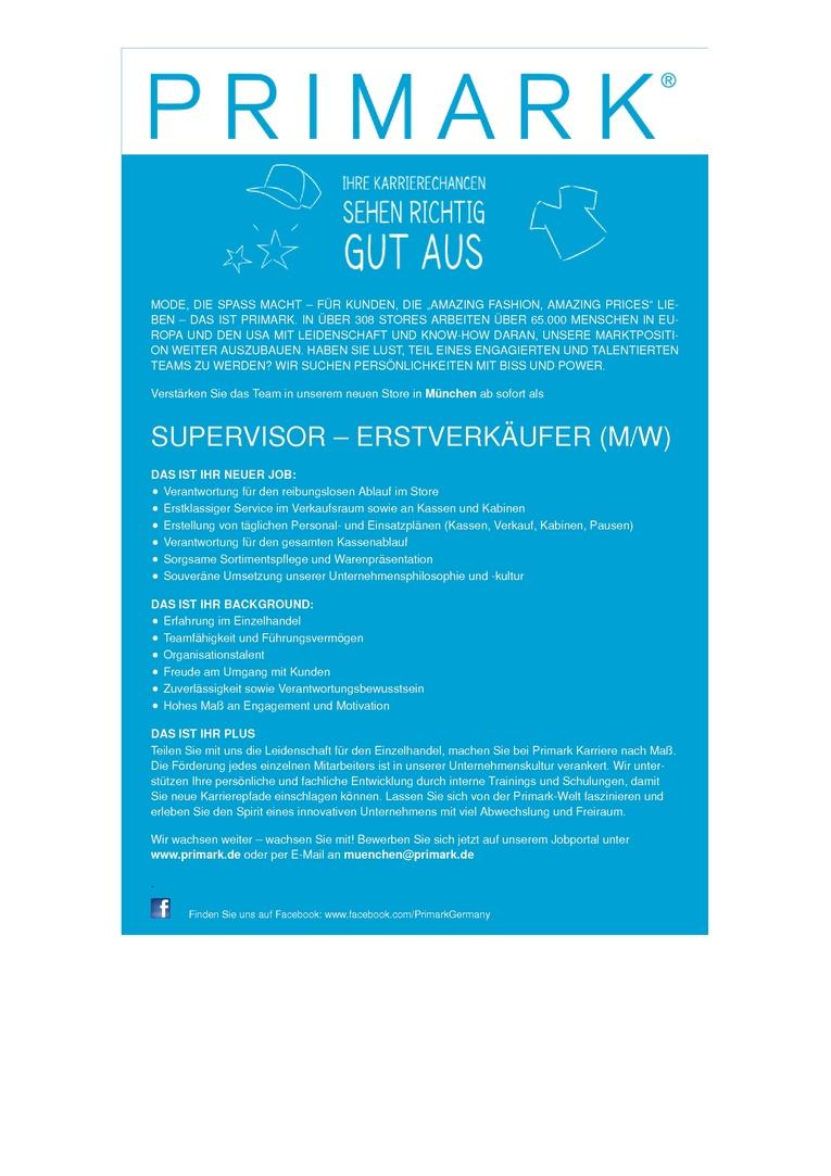 Supervisor – Erstverkäufer (m/w)