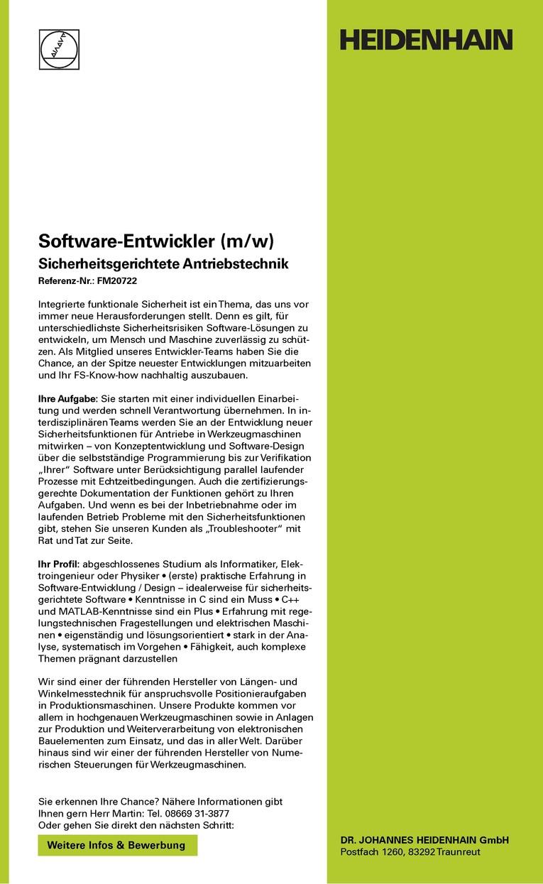 Software-Entwickler (m/w) Sicherheitsgerichtete Antriebstechnik