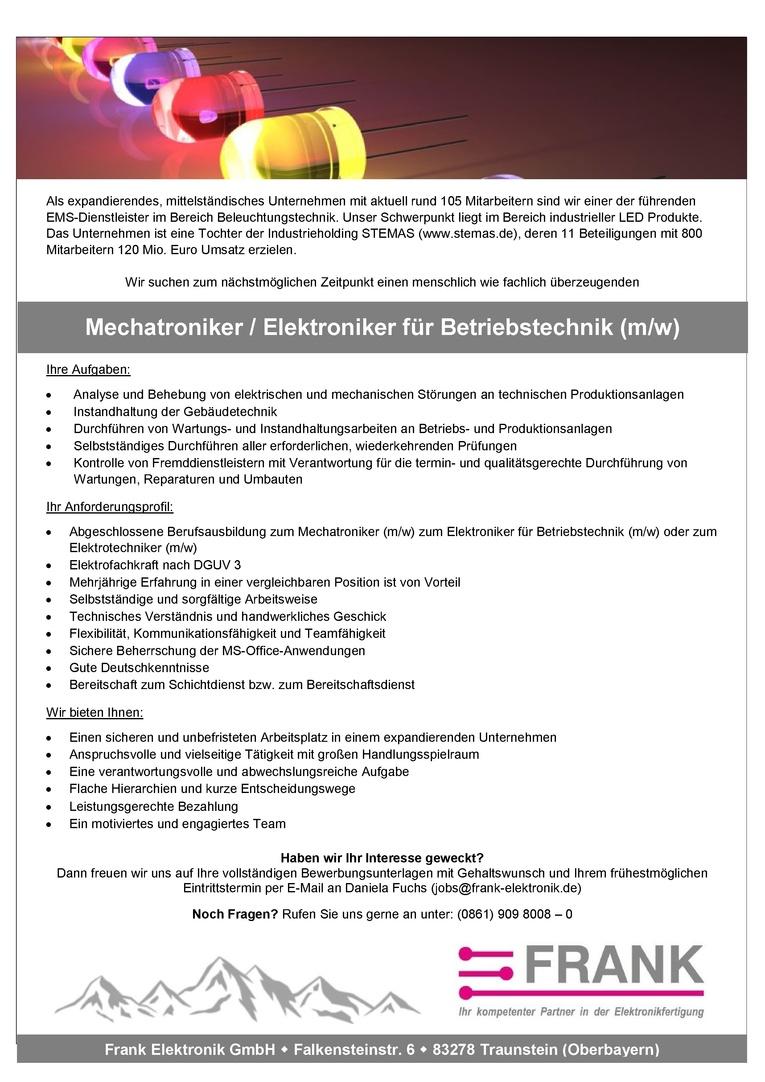 Mechatroniker / Elektroniker für Betriebstechnik (m/w)