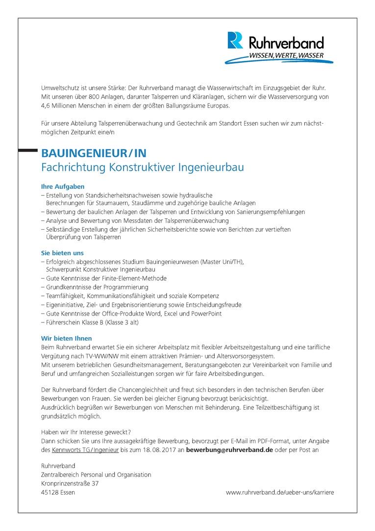 BAUINGENIEUR / IN Fachrichtung Konstruktiver Ingenieurbau