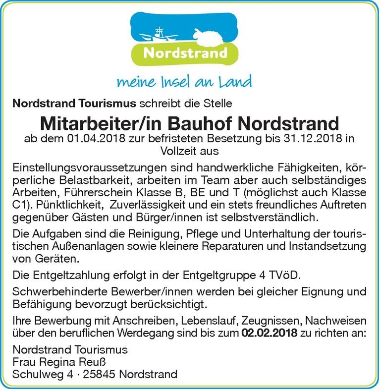Mitarbeiter/in Bauhof Nordstrand