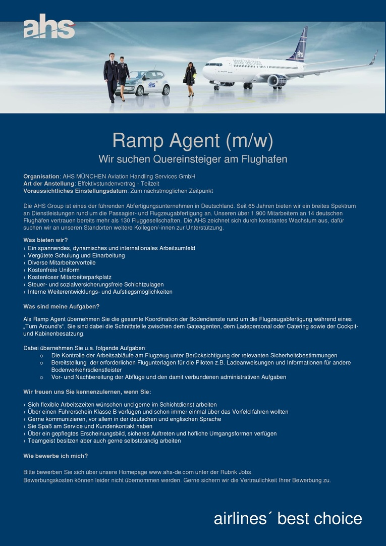 Ramp Agent (m/w) Wir suchen Quereinsteiger am Flughafen