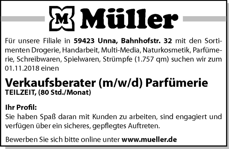 verkaufsberater mwd parfmerie - Mller Online Bewerbung
