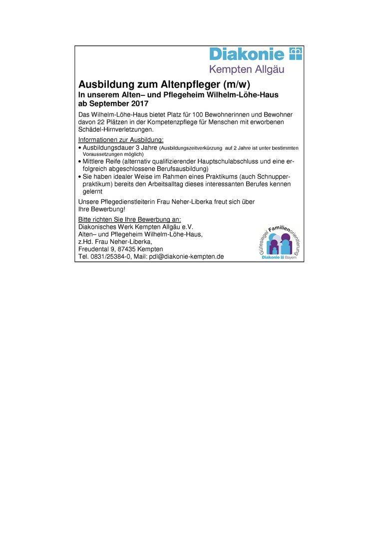 Ausbildungsplätze für den Beruf Altenpfleger/in in unseren Alten- und Pflegeheim Wilhelm-Löhe-Haus ab September 2018