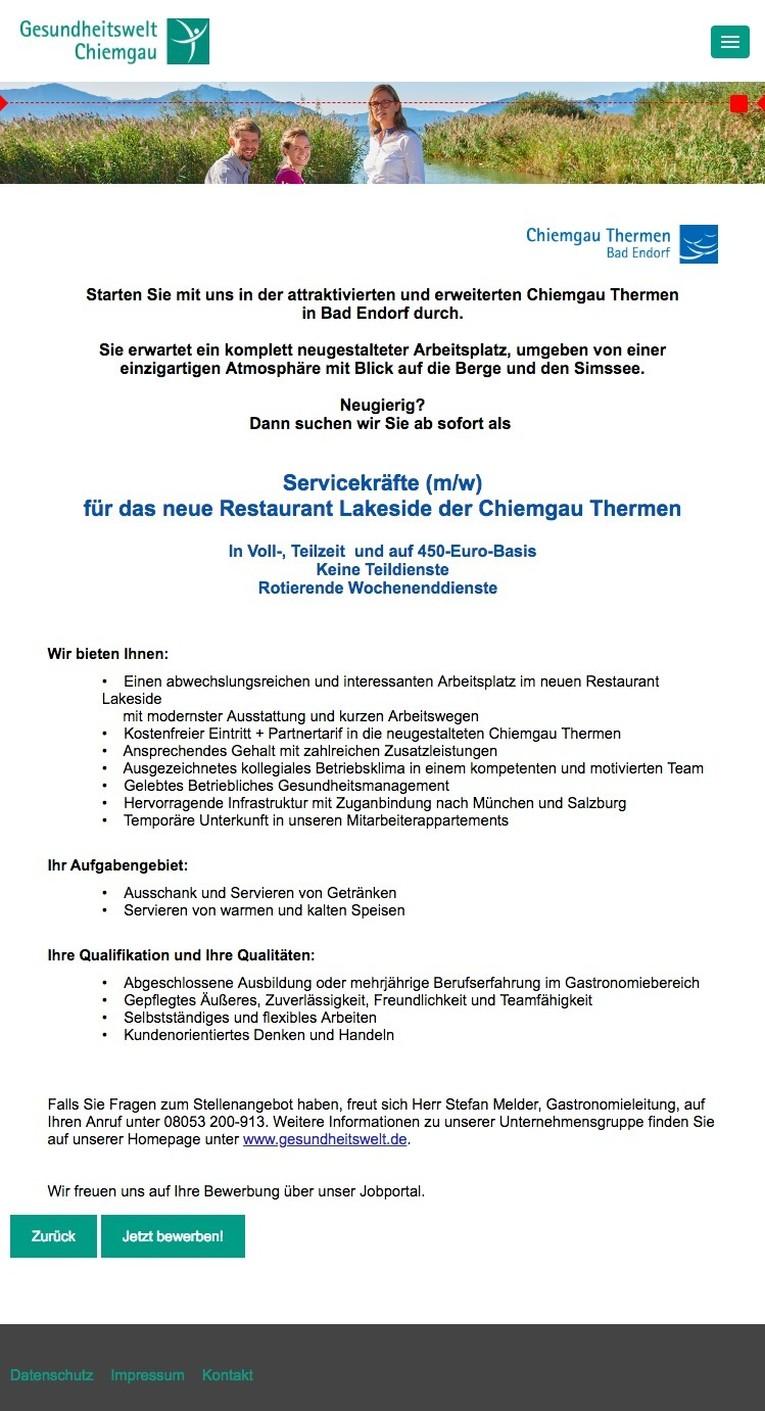 Job: Servicekräfte (m/w) für das neue Restaurant Lakeside der ...