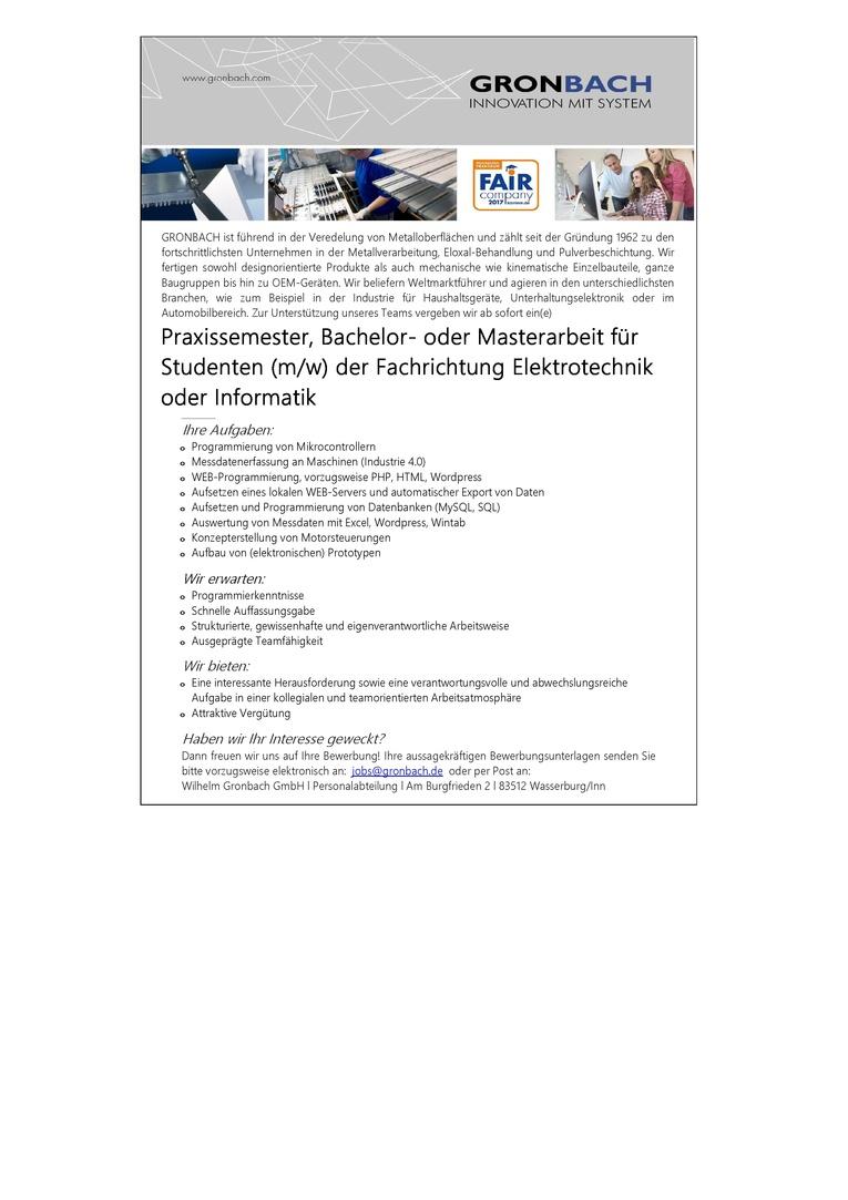 Job Praxissemester Bachelor Oder Masterarbeit Für Studenten Mw