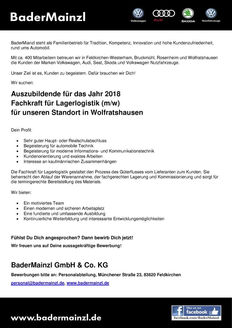 Azubi 2018 - Fachkraft für Lagerlogistik (m/w)
