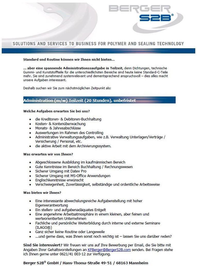 Administration / Verwaltung (m/w) Teilzeit, unbefristet