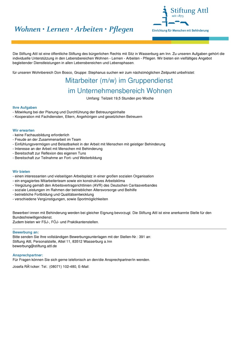 Mitarbeiter im Gruppendienst (m/w) in Teilzeit 19,50 Stunden, unbefristet- Stellen-Nr. 391