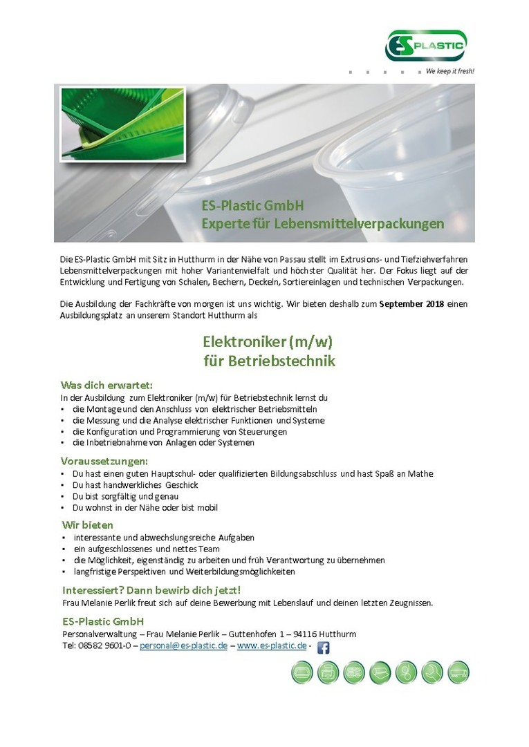 Ausbildung zum Elektroniker (m/w) für Betriebstechnik