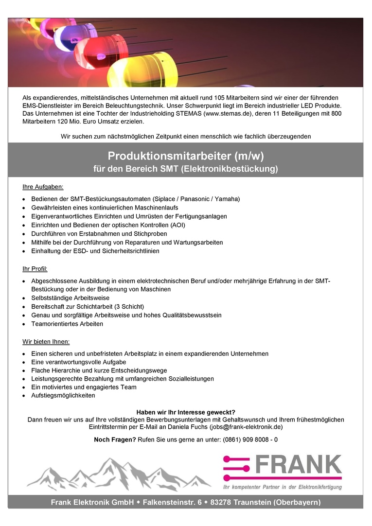 Produktionsmitarbeiter (m/w) für den Bereich SMT (Elektronikbestückung)
