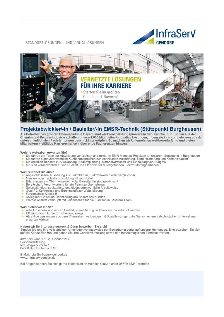 Projektabwickler/-in / Bauleiter/-in EMSR-Technik (Stützpunkt Burghausen)