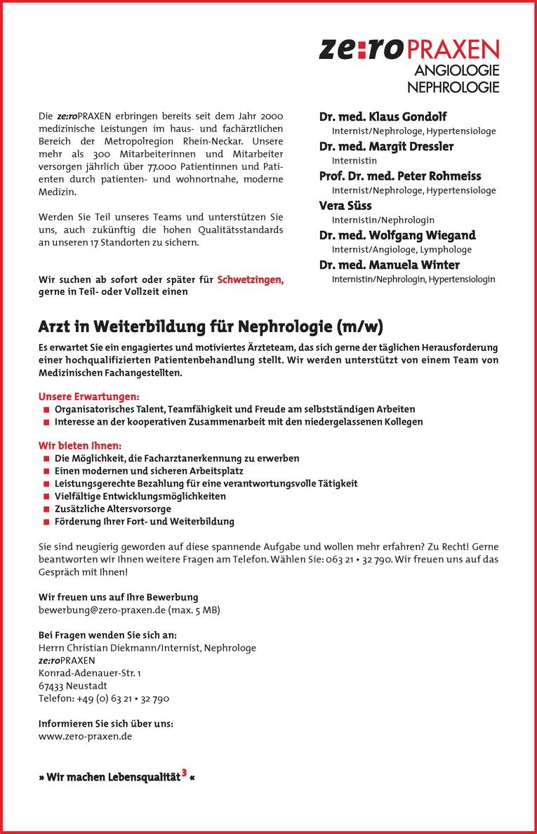 Arzt in Weiterbildung für Nephrologie (m/w)