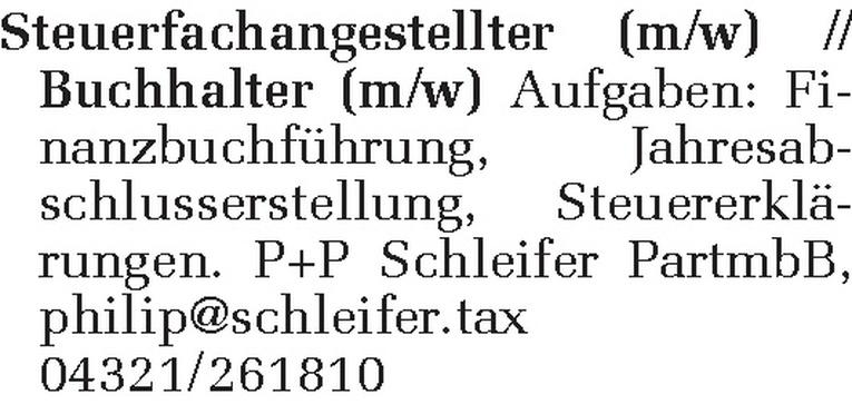 Steuerfachangestellter (m/w) / Buchhalter (m/w)