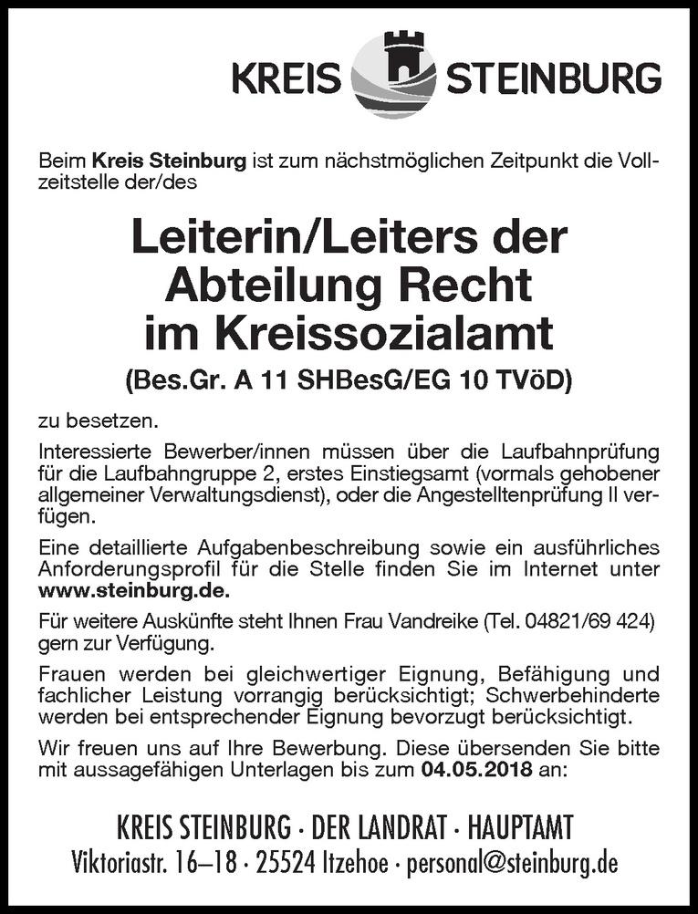 Leiterin/Leiter der Abteilung Recht im Kreissozialamt