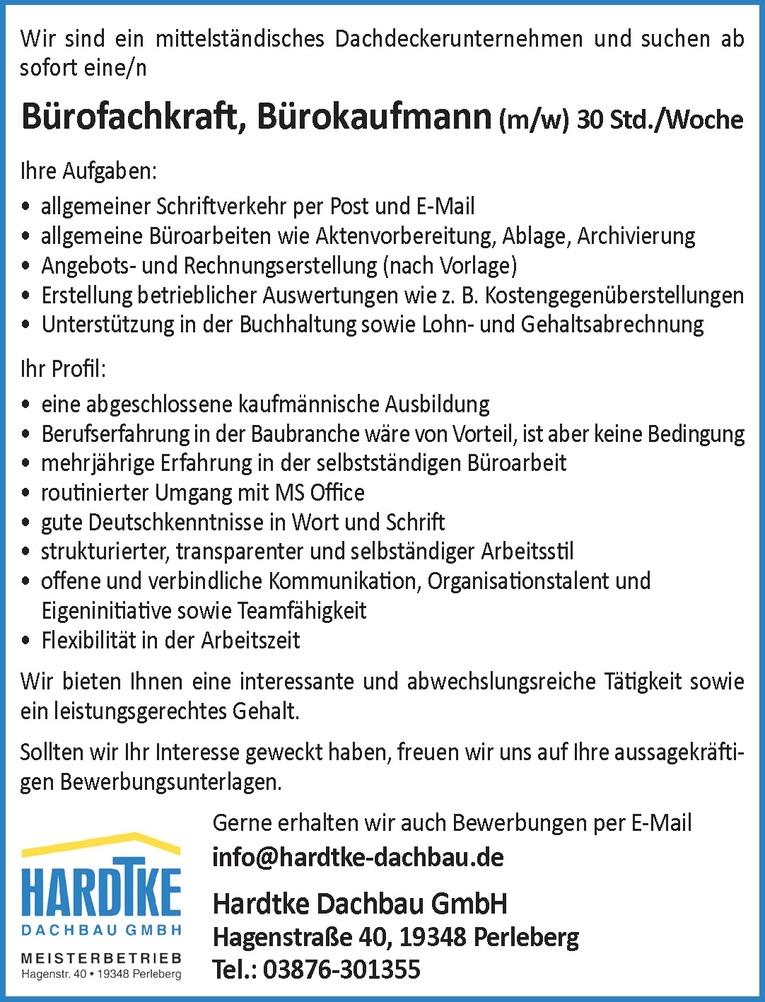Bürofachkraft / Bürokaufmann (m/w)