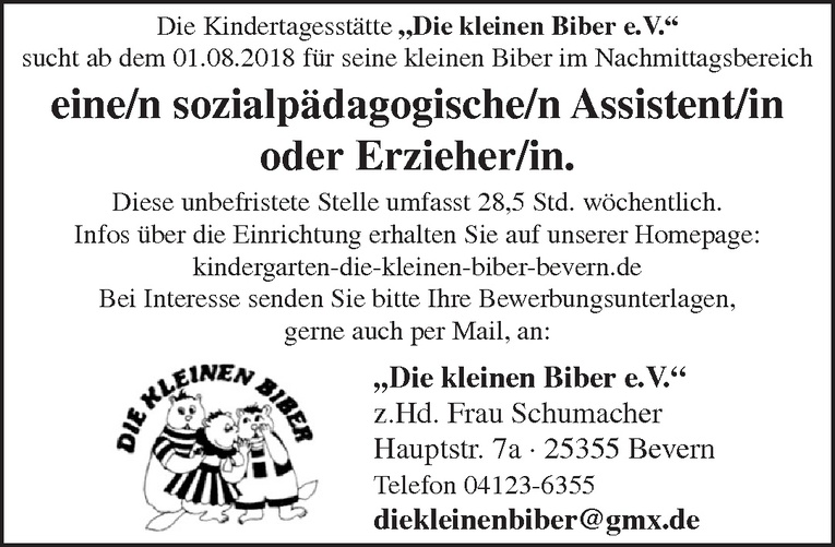 sozialpädagogische/n Assistent/in / Erzieher/in