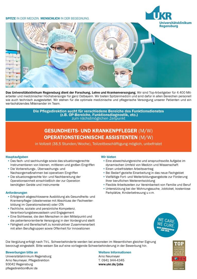 GESUNDHEITS- UND KRANKENPFLEGER (M/W), OPERATIONSTECHNISCHE ASSISTENTEN (M/W)