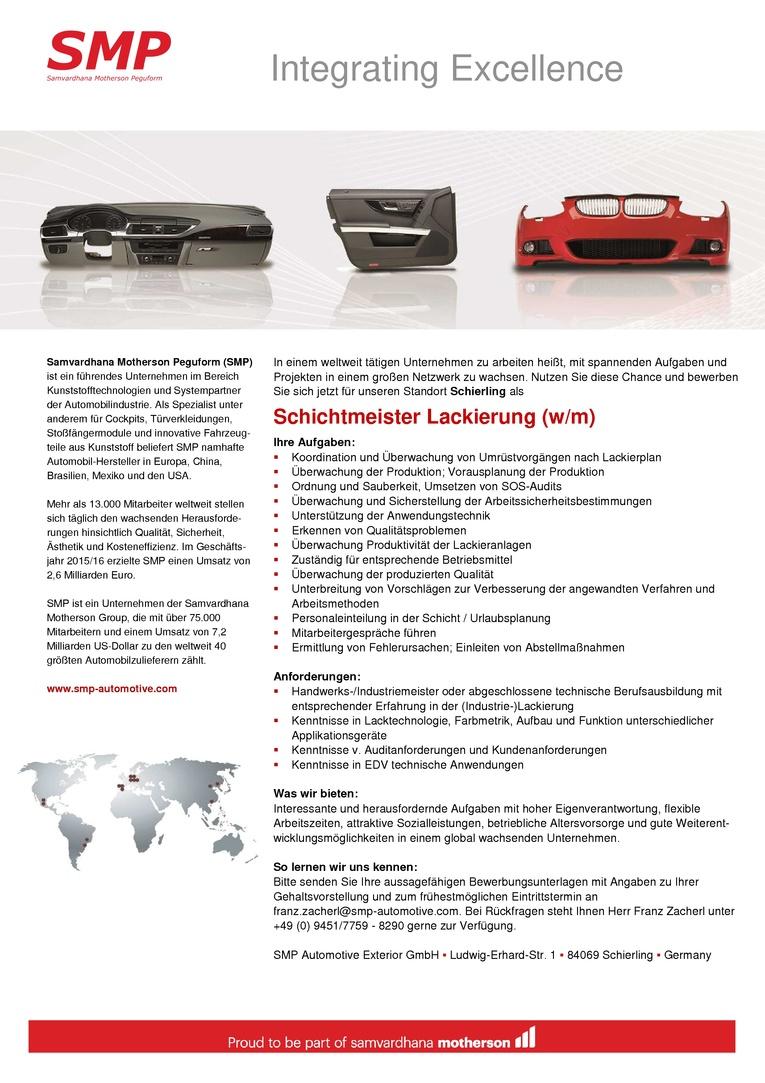 Schichtmeister Lackierung (w/m)