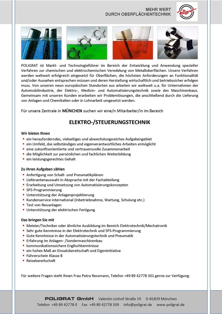 Mitarbeiter/in im Bereich ELEKTRO-/STEUERUNGSTECHNIK