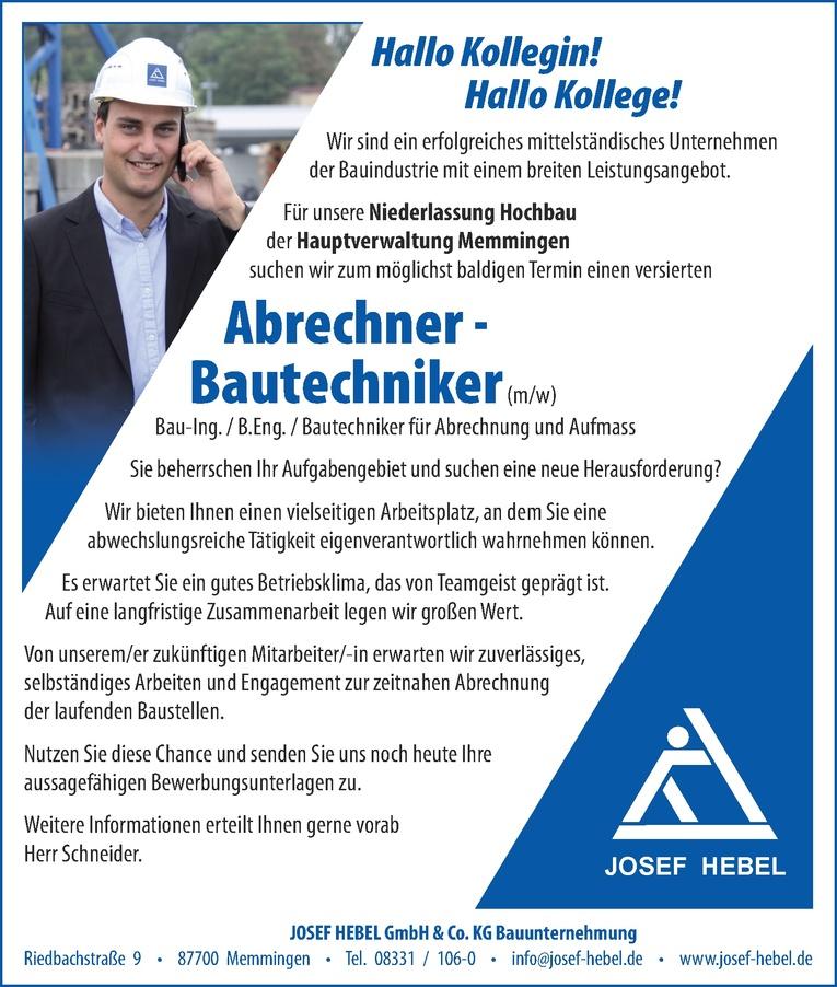 Abrechner / Bautechniker (m/w)