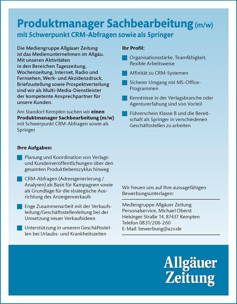 Produktmanager Sachbearbeitung (m/w) mit Schwerpunkt CRM-Abfragen sowie als Springer
