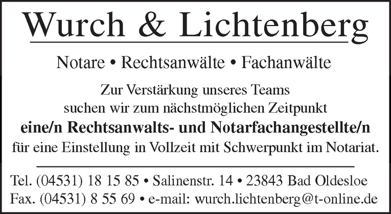 Rechtsanwalts- und Notarfachangestellte/n