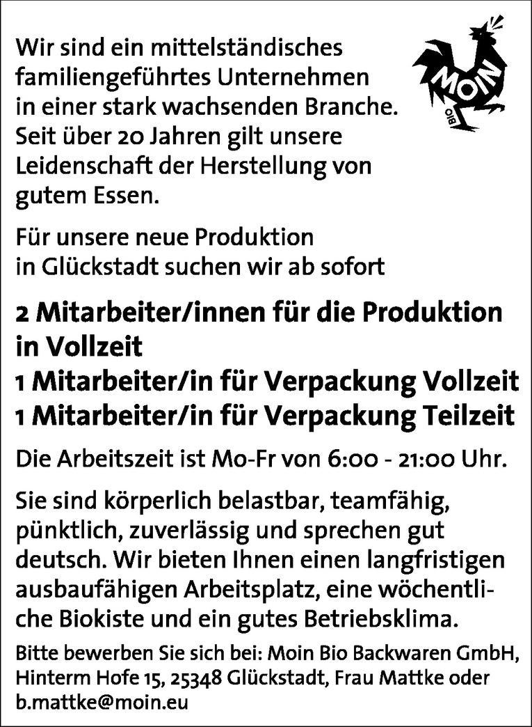 Mitarbeiter/innen für die Produktion