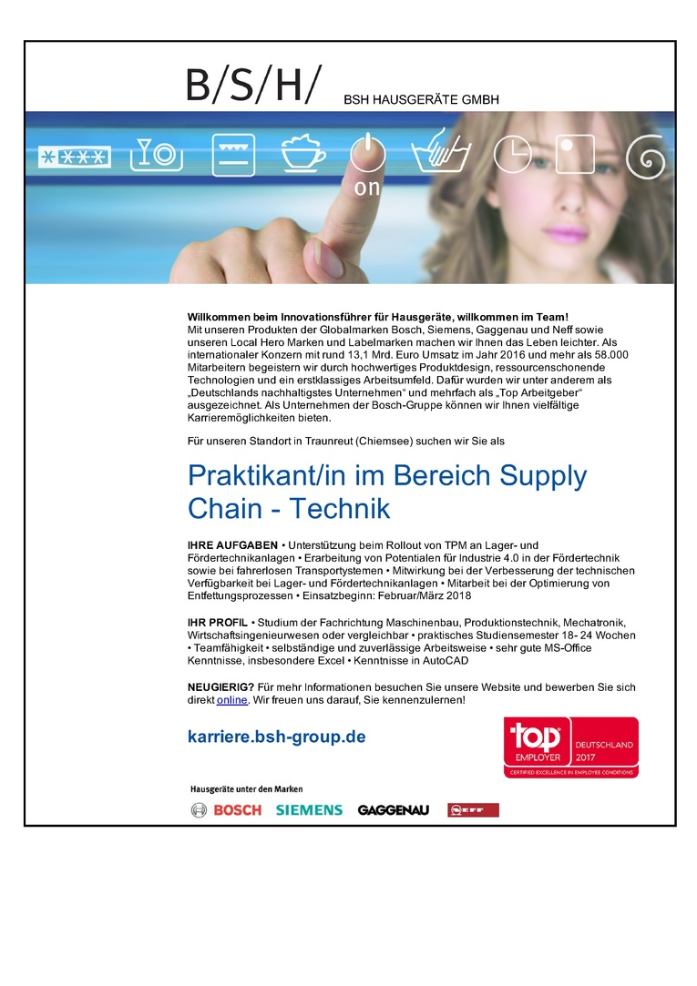 Praktikant/in im Bereich Supply Chain - Technik
